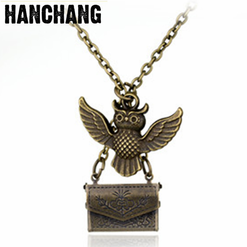 Vintage Jewelry Hot Movie HP Hogwarts Admissions Notification Envelope Owl Magic Pendant Necklace Statement Necklace Colar