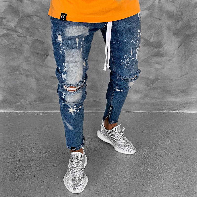New Fashion Mens   Jeans   Skinny Stretch Denim Pants Distressed Ripped Freyed Slim Fit   Jeans   Trousers Hole Pencil Pants Boy Men