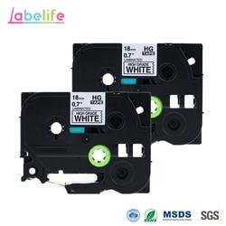 Labelife 2แพ็ค18มิลลิเมตรHGe-241สูงเกรดเทปสีดำบนพื้นขาวใช้สำหรับเครื่องพิมพ์บราเดอร์HGeเทปHGเทปHGe241 HG-241 HG241