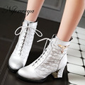 2016 New big size 34-48 women shoes fashion Round Toe high heels Sequined decoration Lace-Up silver ankle boots AYY-902-1