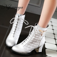 2016 New big size 34 48 women shoes fashion Round Toe high heels Sequined decoration Lace Up silver ankle boots AYY 902 1