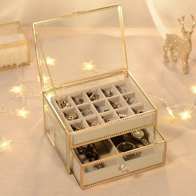 Caja de joyería de cristal de cobre Retro reloj de joyería caja de acabado doble collar Almacenamiento de escritorio-in Cajas y recipientes de almacenamiento from Hogar y Mascotas    2
