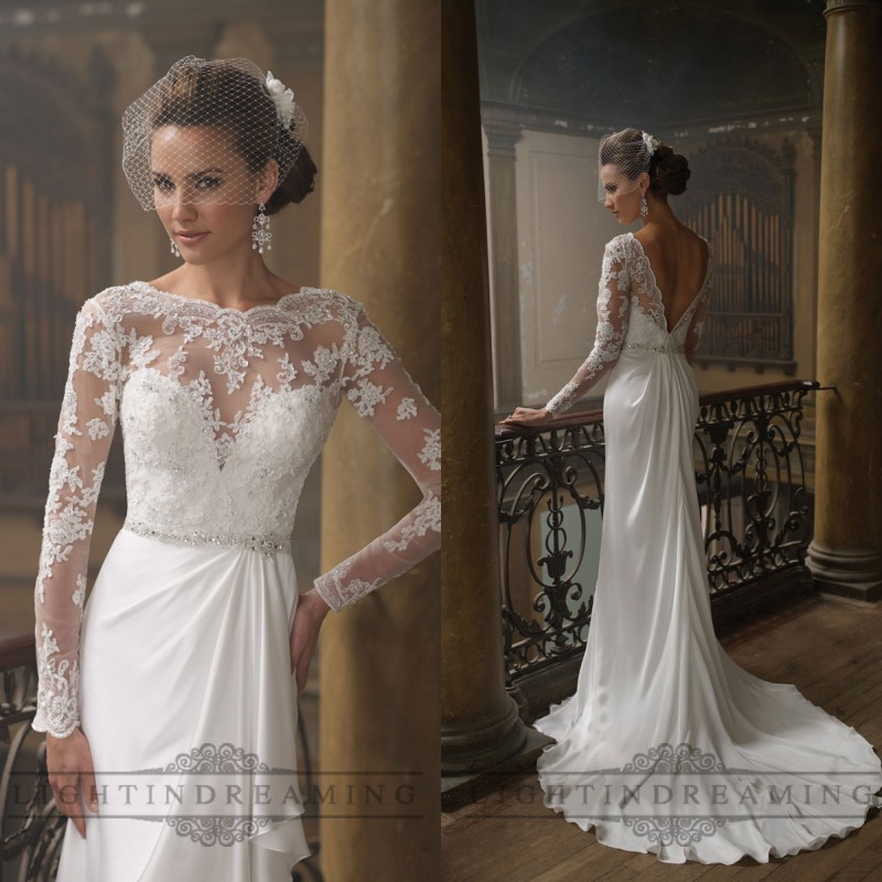 Lace Wedding Gown Open Back: Sheer Lace Long Sleeves 2017 Cheap Beach Wedding Dress