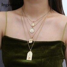 Ingemark 4 Set Vintage Layered Cross Choker Necklace Statement Christian Virgin Mary Pendant Necklace Women Long Chain Necklace цена