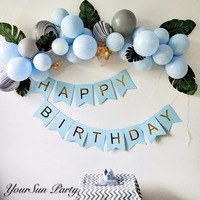 Free Shipping Baby Blue Latex Balloon Garlands Green Leaves Decorated Blue Balloons Arch DIY Kits