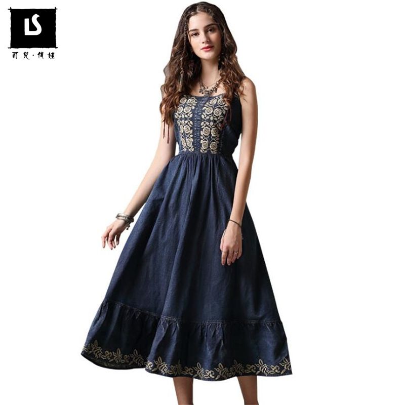 2018 Summer Vintage Denim Suspenders Dress Casual High quality embroidery Long Dress zippers folds Dress Women