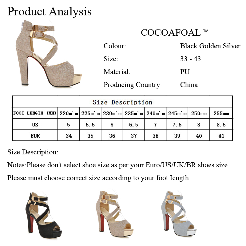 58ae7305ee0 COCOAFOAL Women s High Heels Leather Sandals Woman Silver Golden Shoes  Black Plus Size 32 Party Wedding Women High Heel Sandals - Trendy Shoes  Outlet