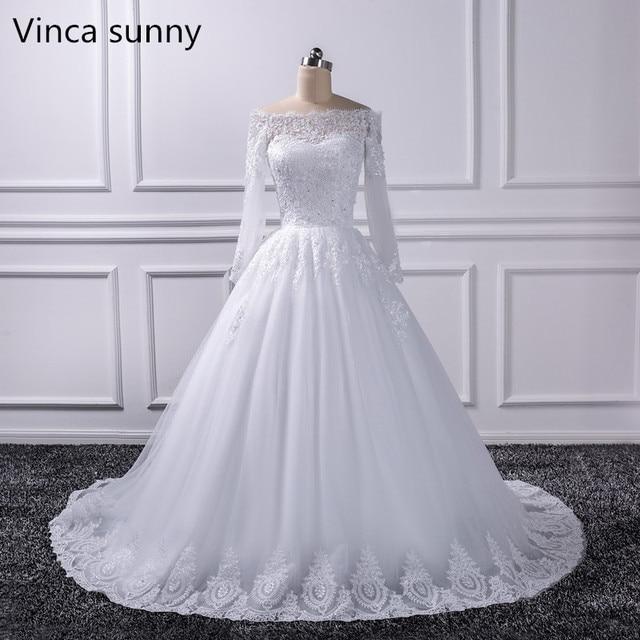 2017 Luxury Vintage Long Sleeves off Shoulder Wedding Dresses Princess Lace Alliques Bridal Bride Gowns robe de mariage