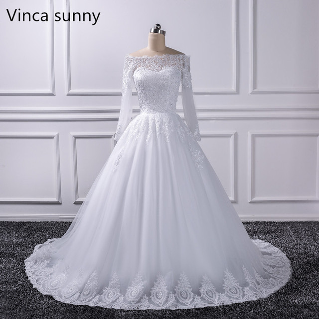 2018 Luxury Vintage Long Sleeves Off Shoulder Wedding Dresses Princess Lace Alliques Bridal Bride Gowns Robe