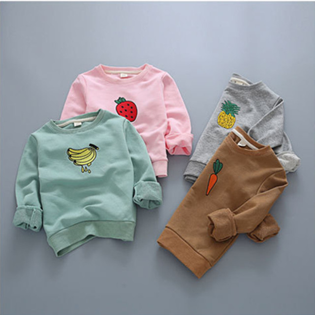 Girls t shirt autumn 2016 fashion fruit banana boys hoodies spring sweater cartoon embroidery pineapple strawberry kids clothes