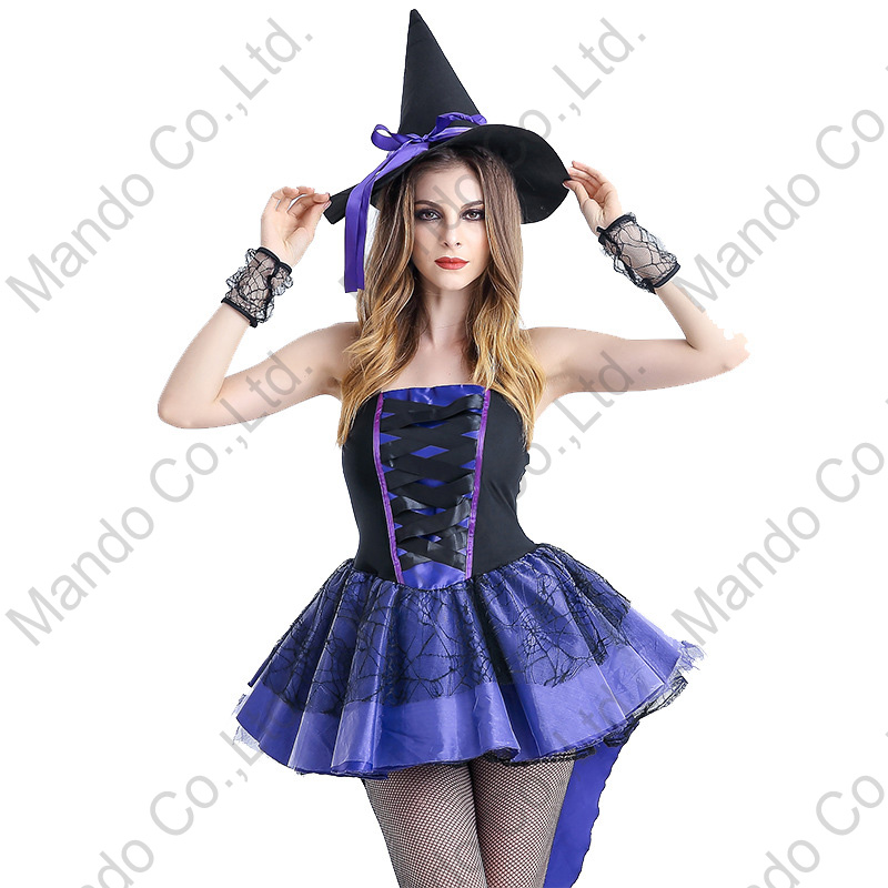 Adult Women Sexy Purple witch Lady Fancy Dress Halloween Cosplay Costume Outfit
