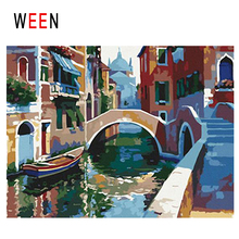 WEEN Venice Diy Painting By Numbers Abstract River Town Oil On Canvas Bridge Boat Cuadros Decoracion Acrylic Home Decor