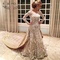 Luxury Long Sleeves French Lace Mermaid Wedding Dress with Detachable Royal Train Sheer Bateau Neck Illusion Lace Back