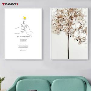 Image 3 - 노란 꽃 미니멀리스트 손 인쇄 포스터 현대 영감 생활 따옴표 캔버스 회화 거실 홈 장식 그림