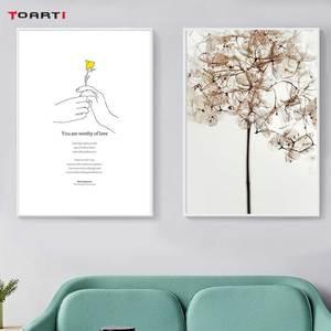 Image 3 - Gele Bloem Minimalistische Hand Prints Posters Moderne Inspirational Life Quotes Canvas Schilderij Voor Woonkamer Home Decor Foto