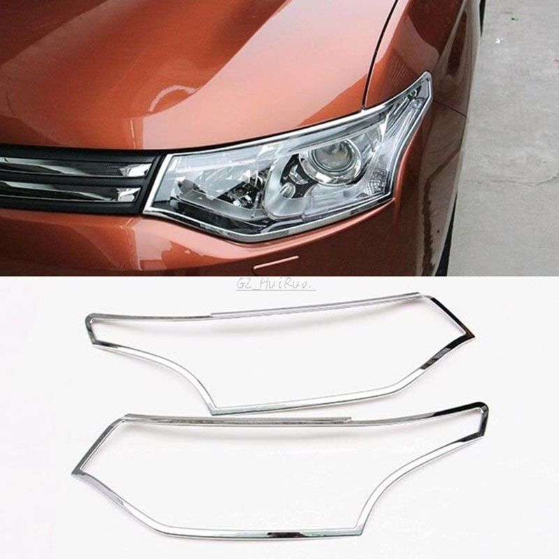 fit for mitsubishi outlander 2012 2013 2014 2015 ABS chrome front head light eyebrow cover