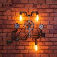 Американской промышленности Настенные светильники водопровод Винтаж гладить лофт настенные бра для балкона Спальня Кухня украшения lamparas