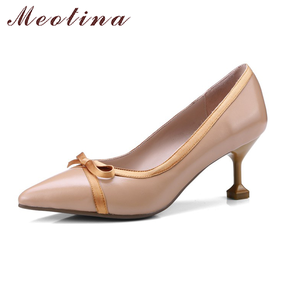 Meotina High Heels Genuine Leather Shoes Women Pumps 2018 Spring Pointed Toe Bow-knot Dress Shoes Hoof Heels Ladies Shoes White meotina genuine leather women shoes female plaid party shoes block heel bow strap high heels kid suede ladies pumps 2018 spring