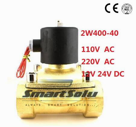 Free Shipping High Quality 2PCS In Lot 1.5'' Zinc Alloy Brass Water Solenoid Valve 2W400-40 DC24V 0.8MPa Pressure free shipping high quality 2pcs in lot process brass solenoid valve g1 1 2 2w400 40 110v 50 60hz voltage coil