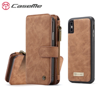 CaseMe Case For Apple iPhone X Luxury Retro Card Slot Magnetic Multifunction Wallet Phone Case Cover Back Case For iPhoneX