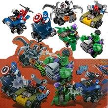 Лепин Marvel Super Heroes Мстители Капитан Америка Халк Человек-Паук Бэтмен Автомобиль Аниме Фигурки Строительных Блоков Кирпичи игрушки