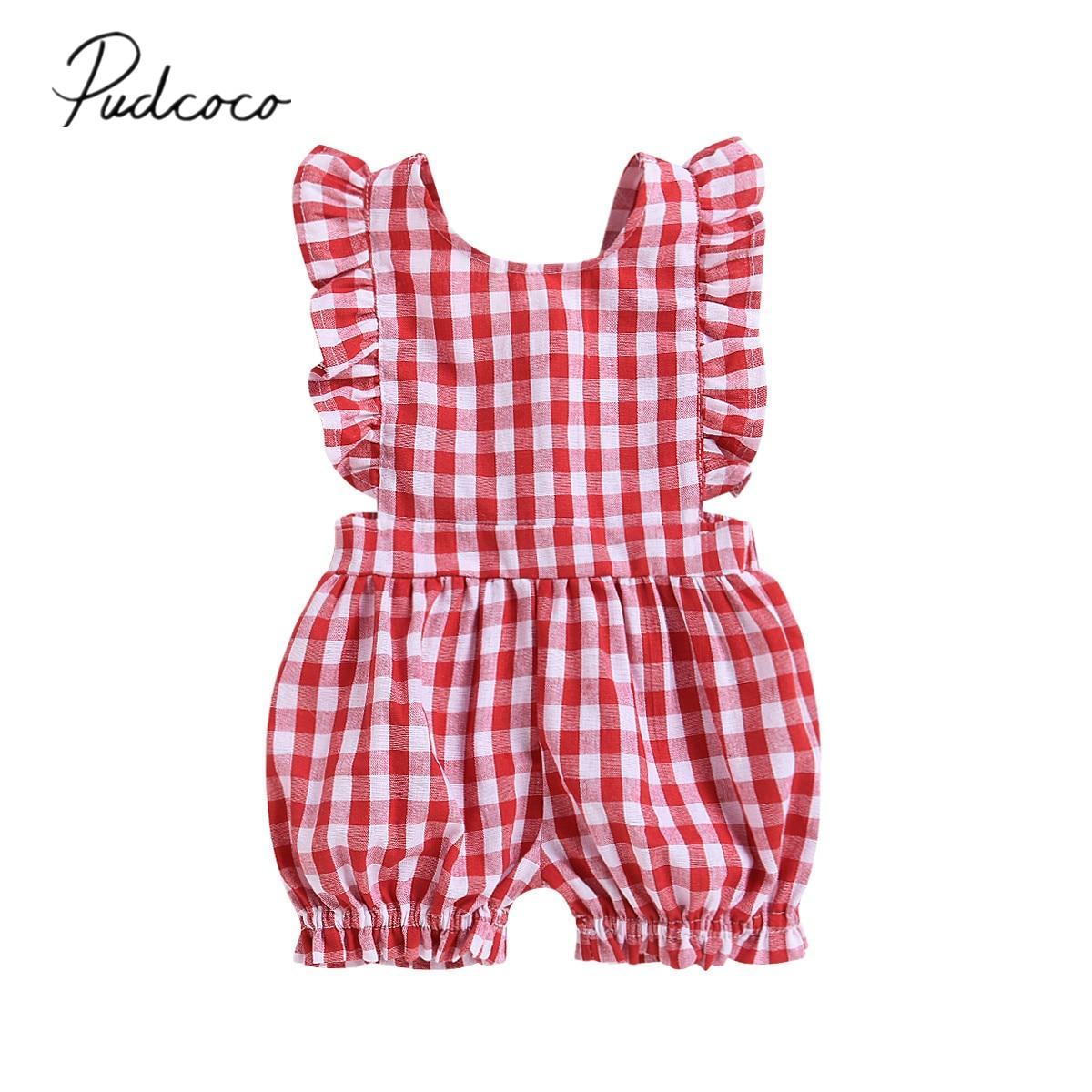 2018 Marke Neue Kleinkind Sommer Newborn Kid Baby Mädchen Säugling Plaid Romper Overall Überprüft Kleidung Outfit Backless Sunsuit 0- 24 Mt