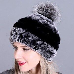 Image 4 - חורף פרווה כובע לנשים אמיתי רקס ארנב פרווה כובע עם שועל פרווה פום poms פרווה סרוג בימס 2018 חדש אופנה כובעים באיכות טובה