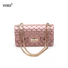 Women Fashion Jelly Bag Summer Style Chains Shoulder Diamond Lattice Flap Purse