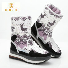 Women discount fashion warm fur winter boots antiskid sole snow boot deer picture big size nylon waterproof upper lady hot boots