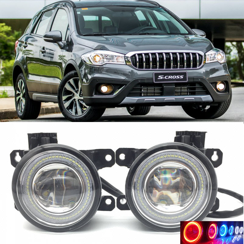 2 in 1 LED Angel Eyes DRL 3 Colors Daytime Running Lights Cut Line Lens Fog Lamp for Suzuki SX4 S Cross 2017