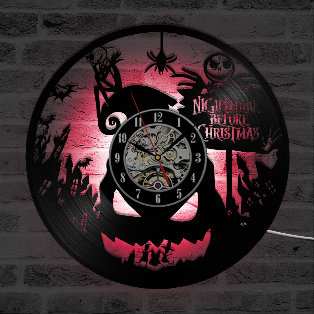 The Nightmare Before Christmas Theme LED Record Clock 3D Classic ...