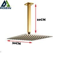 Golden 20cm Ceiling Mount Shower Arm 12 Rain Brass Shower Head