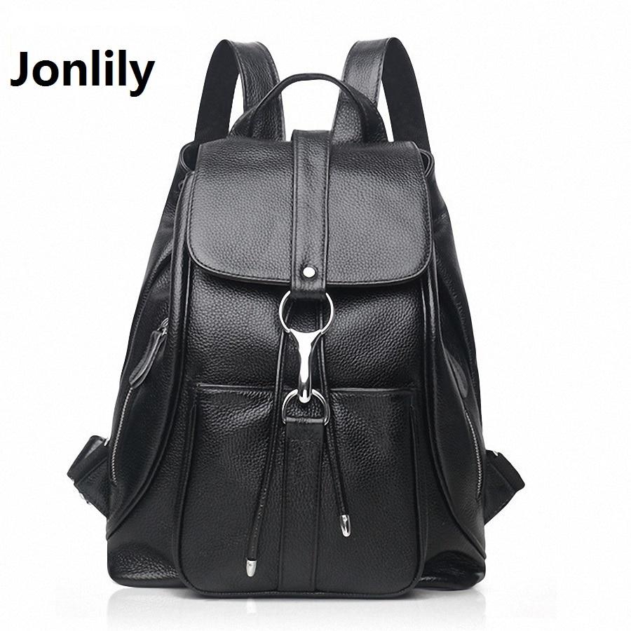 Jonlily Genuine Leather Women Backpacks Vintage Cowhide American Solid Woman Bags Daily Pack Preppy Style School