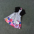 Free Shipping 6 Pieces/lot 4-12T Girls Hello Kitty Chiffon Dress Cape attached One-piece Dress