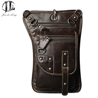 Retro Vintage Fashion Punk Style Crazy Horse Genuine Leather Men Waist Packs Small Messager Bag Ride
