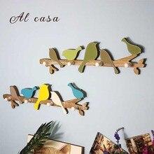 Купить с кэшбэком European Retro Style Hanger  childish coat hat  colorful wood rack, coat rack  wall hanging decoration home furniture 4 HOOKS
