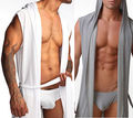 Sexy Mens Silk Satin Bath Shower Robe Kimono Wraps Hooded Night White Gray Black