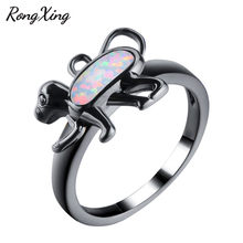 RongXing Cute Monkey White/Blue Fire Opal Animal Rings For Women Vintage Black Gold Filled Fashion Jewelry Christmas Gift RB1401(China)