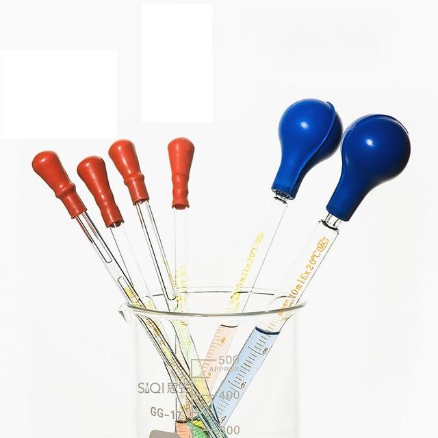 5 יח\חבילה זכוכית בוגר פיפטה עם גומי הנורה מעבדה כימיה טפטפת מחלק 1 ml 2 ml 3 ml 5 ml 10 ml ניסיוני טפטפת