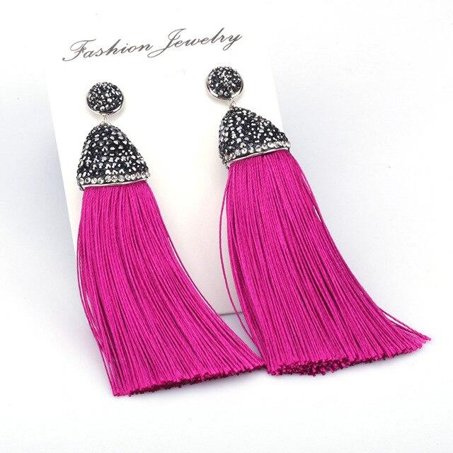 d842b1219 Boho PINK Collection Light Dark Hot Pink Silk Chunky Thick Tassel  Rhinestone Cap charm Studs Dangle