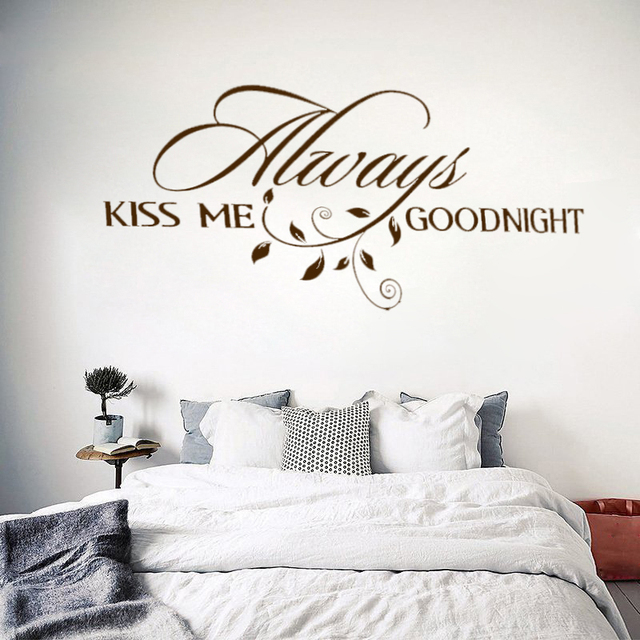 W236 Always Kiss Me Goodnight Loving Art Wall Decal Removable Vinyl Quotes Wall Stickers Mural for Bedroom Home Decor