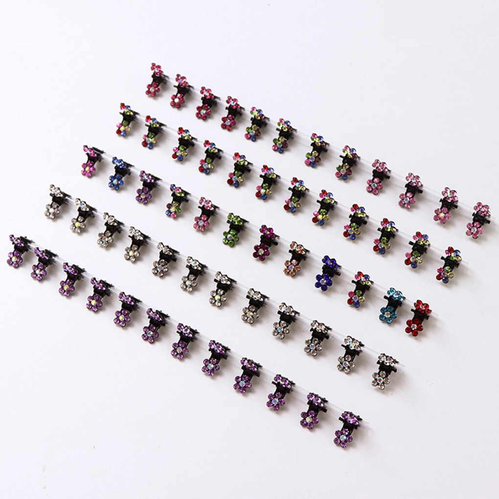 12 шт. маленькие хрустальные цветы металлические когти для волос детские мини Стразы зажим для волос детские заколки для волос Детские заколки для волос