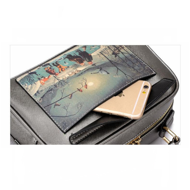 Women's Leather Handbag with Landscape Print