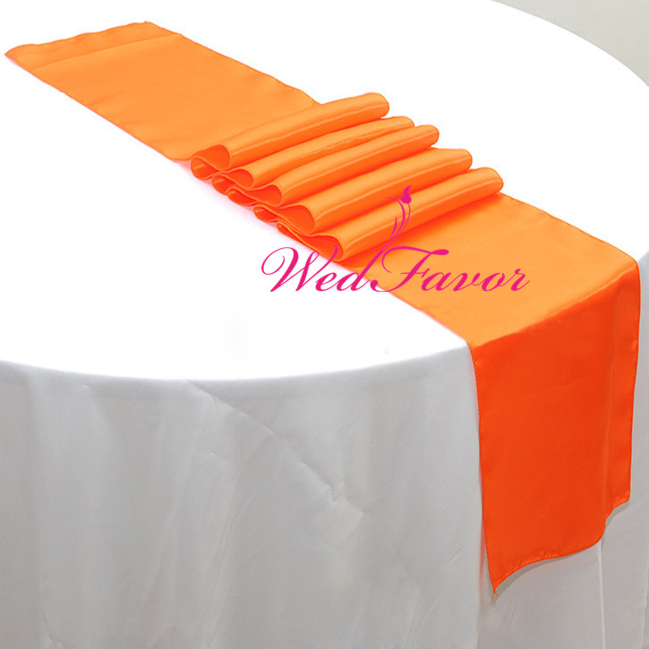 WedFavor 30pcs Orange Banquet Table Runners Satin Ribbon Runners For  Wedding Party Table Top Decoration Hotel