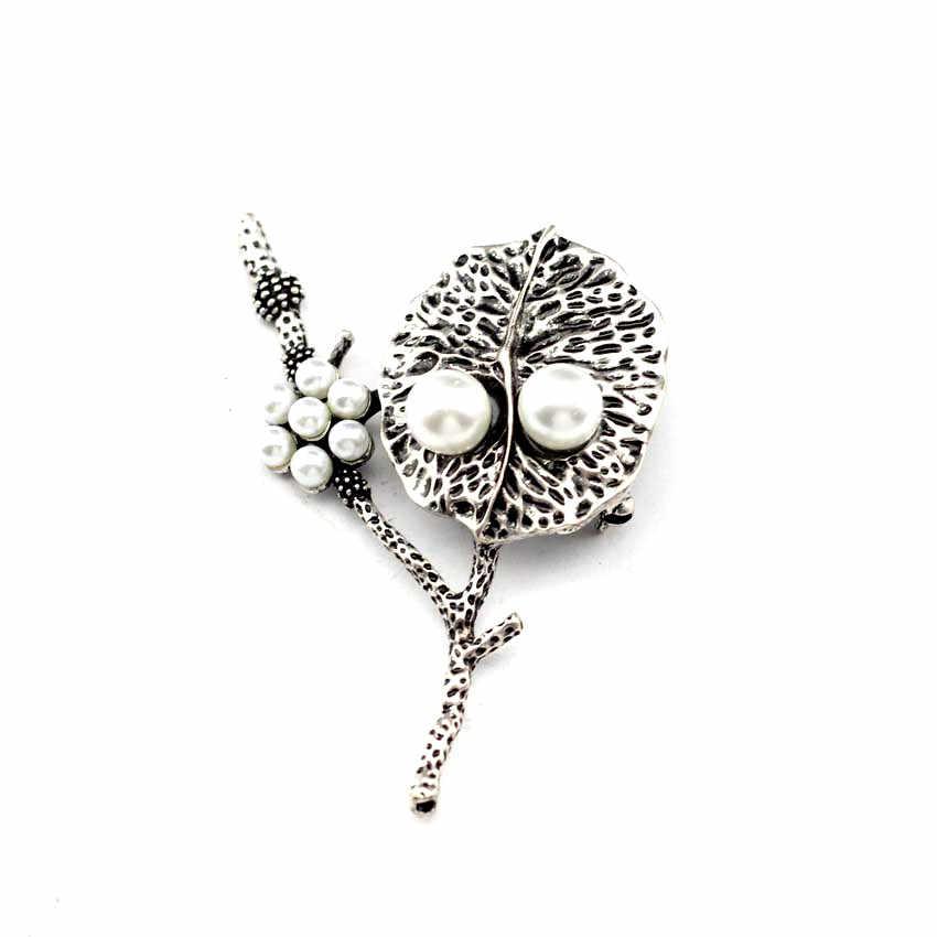 Anslow Panas Asli Desain Vintage Daun Imitational Mutiara Elegan Wanita Bros Pin untuk Suit Gaun Mantel Perhiasan Aksesoris