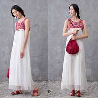 2016 Summer Dress Sleeveless Fashion Silk Pieces Women Dresses Loose White Fairy Long Maxi Dress
