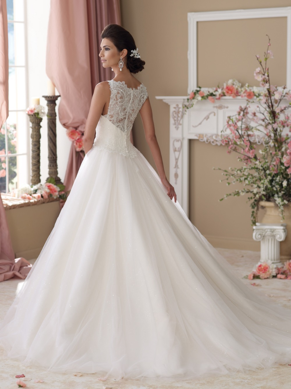 Charming High Collar Lace And See Through Wedding Dresses Women With Covered Back Vestidos De Noivas 2017 Y In From Weddings Events On