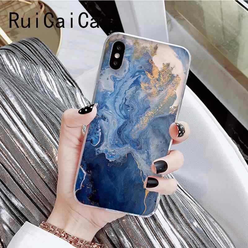 Ruicaicaグリーンファッション大理石ブルー美的高級携帯電話のカバーiphone 8 7 6 6sプラスx xsmax 5 5s、se xr 10 11 11pro 11promax