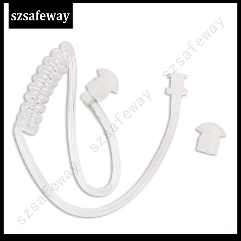 20PCS/lot Detachable Clear Acoustic Tube With Earbuds End Tips For Two Way Radio Acoustic Tube Earpiece Replacement Freeshipping