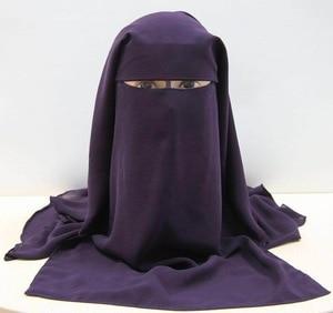 Image 2 - חם ארוך חיג אב המוסלמי מסכת פנים הבורקה 3 שכבות צעיף ניקאב